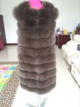 A length of 90 cm fox fur vest for women fall nature fur coat