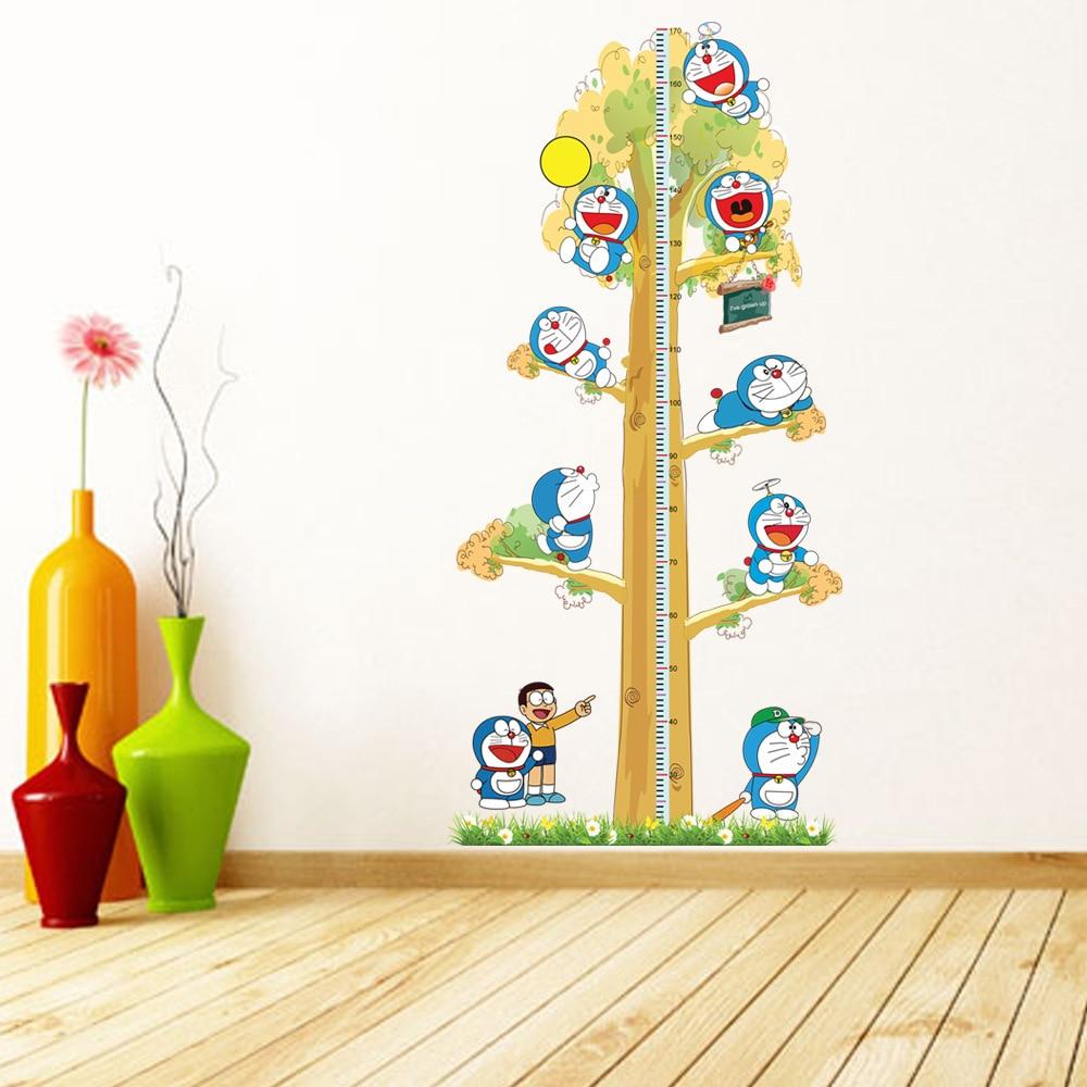 2PCS Doraemon Creative DIY Kids Height Chart Wall stickers Home Decor Modern Baby Nursery room Wallpaper Decal adesivo de parede