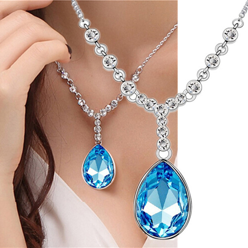9.5*2.2cm Water drop blue blue crystal women jewelry 925 silver Necklace ladies Rouge tears gorgeous high end girls Pendants