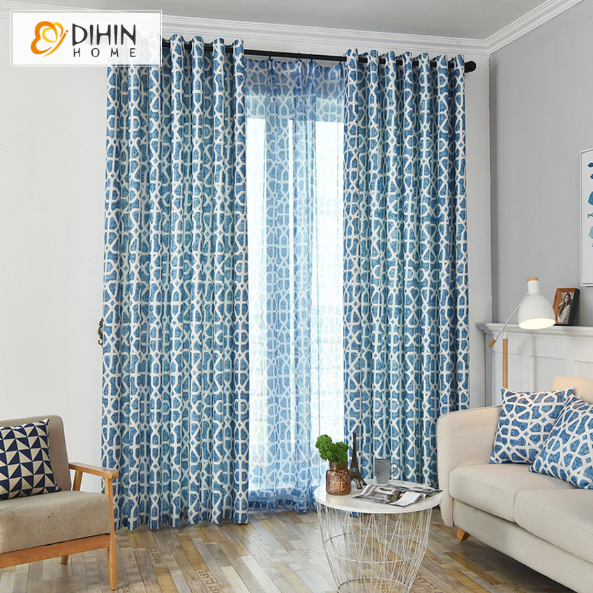 DIHIN HOME Modern Geometric Printed Blackout Curtains