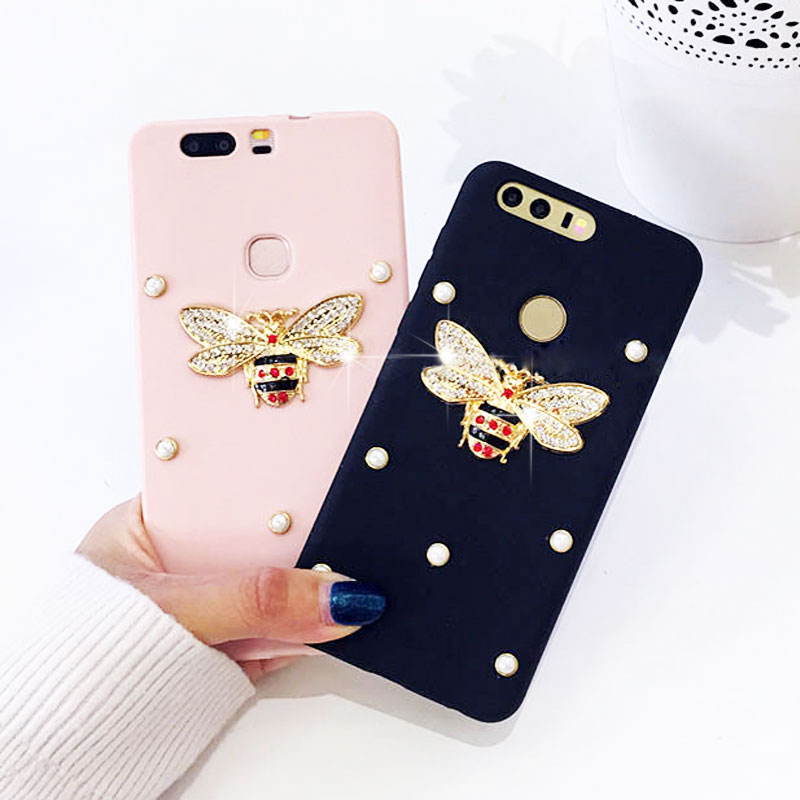 Luxury 3D Bling Diamond Bee Pearl Silicone Case for Samsung Galaxy S6 S7 edge S8 S9