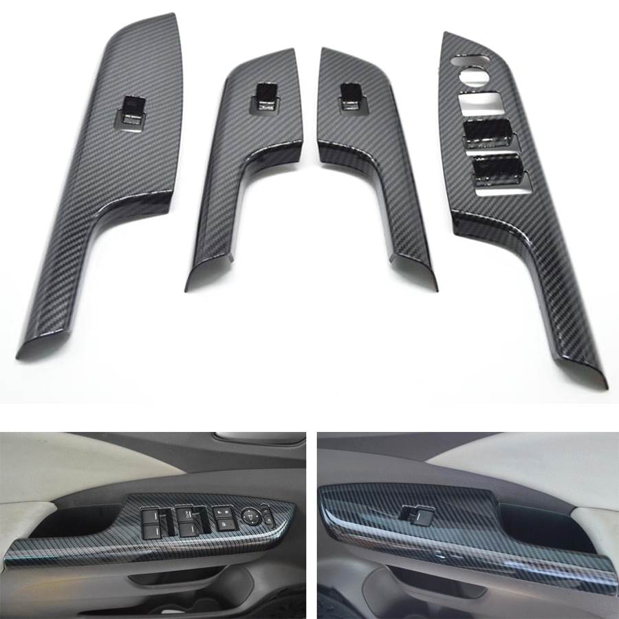 YAQUICKA 4Pcs/set Car Door Armrest Window Switch Button Frame Trim Cover Sticker Bezel Styling For Honda CRV 2012-2016 LHD car styling door window lift switch button panel cover armrest trim garnish sticker fit for mazda 3 axela lhd car accessories