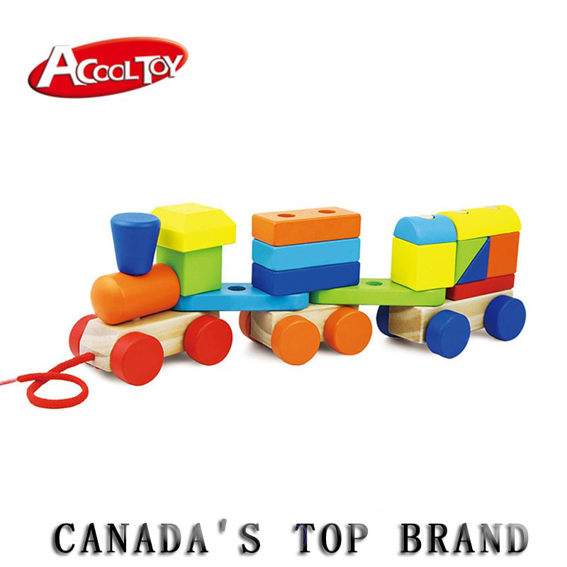 Wooden Toys Geometric Blocks Train Building Stacking Set Toy Assembly Pull Along Toys for Children Train Blocks Exercise Balance wooden stacking train vehicle building blocks kids educational montessori geometric assemb matching cognitive blocks toys