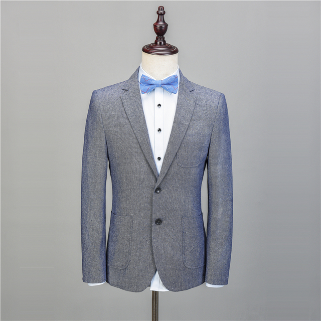 NA56 Light Blue Linen Casual Custom Tuxedo Men Suits Slim Fit Blazer Latest Coat Pant Designs 2 Pieces Terno suit Jacket+Pants