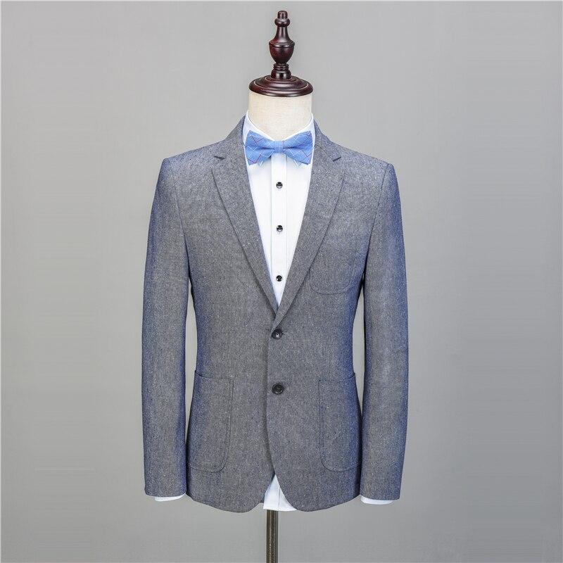 Na56 светло-голубой Лен Повседневное заказ смокинг Для мужчин Костюмы Slim Fit Blazer последние конструкции пальто брюки 2 шт. TERNO костюм куртка + Брю... ...