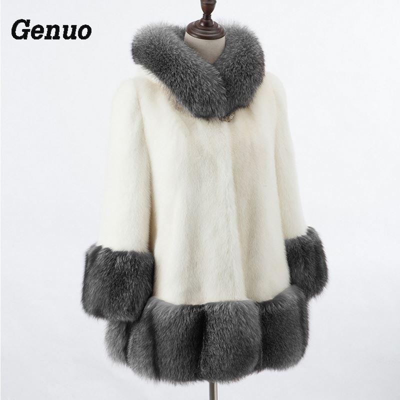 Genuo 2018 Fashion Plus Size Faux Fur Coat Women Winter Long Faux Fox Fur Overcoat Casual
