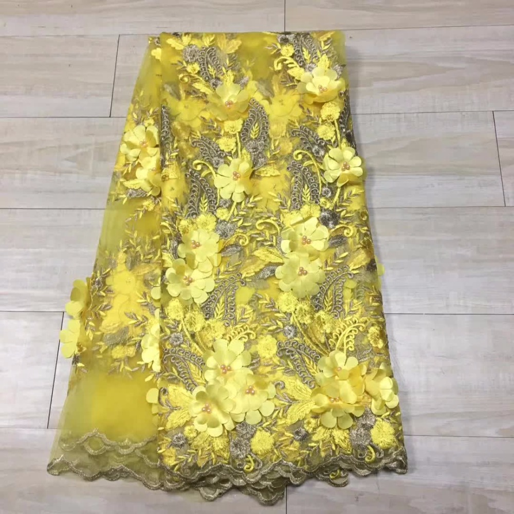 High Quality 2017 Pearls Tulle African Lace Fabric Guipure Applique Beaded French Nigerian Lace Fabrics for