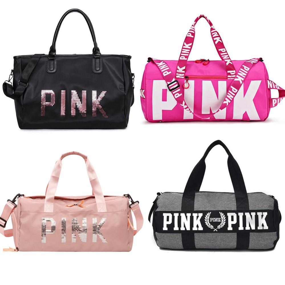 2019 Large Capacity Travel Gym Tote Travel Bag Pink Casual Sequins Shoulder Bags Weekend Portable Nylon Tote Waterproof Handbags