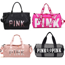 2019 Large Capacity Travel Gym Tote Travel Bag Pink Casual Sequins Shoulder Bags Weekend Portable Nylon