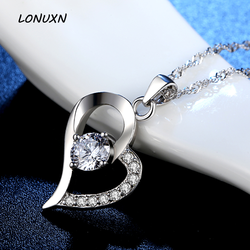 15*26mm love heart shape Pendant with chain Shiny Necklace 925 Sterling silver lettering Korean female jewelery lovers best gift love heart opening wings shape sweater chain