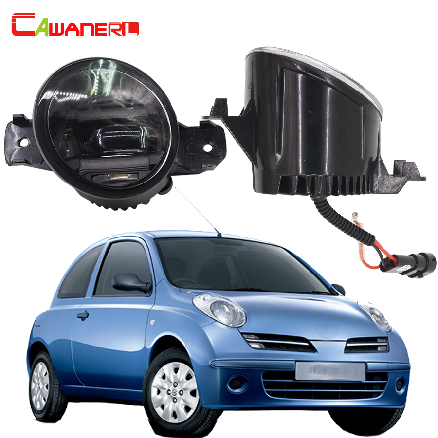 Cawanerl 2X Car LED Fog Light White DRL Daytime Running Lamp Accessories For 2010-2015 Nissan Micra 4 / IV (K13) Hatchback qvvcev 2pcs new car led fog lamps 60w 9005 hb3 auto foglight drl headlight daytime running light lamp bulb pure white dc12v