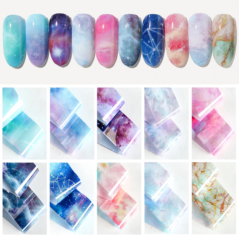 Image 4 - HNUIX 10 colours Nail art star transfer paper hot sale Rainbow sky Japanese style nail foil sticker nail polish adhesive sticker-in Stickers & Decals from Beauty & Health