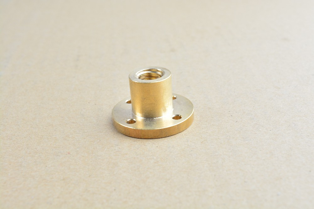 T10 nut trapezoidal screw nut brass copper nut for diameter 10mm T10 screw pitch 2mm 3mm lead 2mm 3mm 4mm 8mm 10mm 12mm 14mm food machinery cutter hole reamer series pitch diameter 3mm to 8mm diameter aperture 8