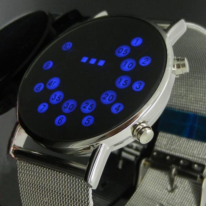 Flight Tracker Blue Led Watch Silver Metal Iron Mesh Dial Digital Sport Watches Boy Men Women L8811 Watches Men's Watches