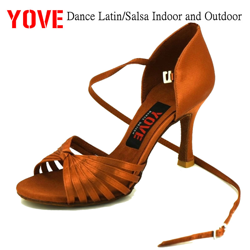 "YOVE Style LA-02 Professional Latin Dance Shoe Indoor for Women 3 ""Flare կրունկ"