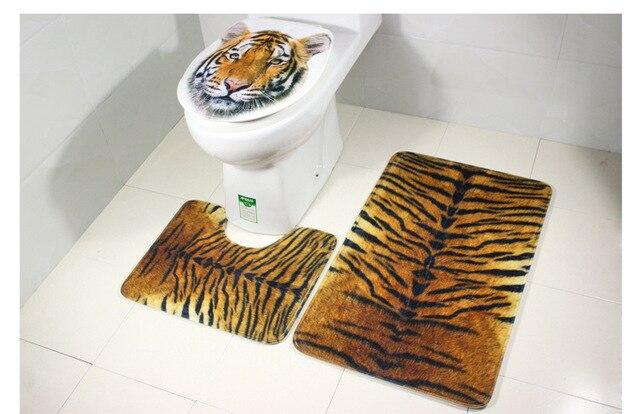 Tiger Toilet Accessoires : Polyester three pieces bathroom carpet sets tiger toilet mat floor