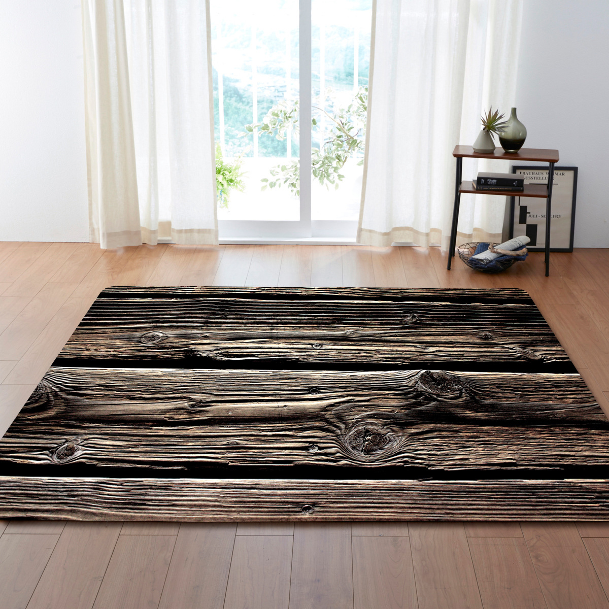WUJIE Anti-slip Carpets For Living Room Modern Wood Grain Pattern Striped Area Rugs Large Floor Mat Room Decoration