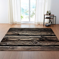 WUJIE Wood Grain Pattern Carpets for Living Room Vintage Striped Aera Rugs Large Bedroom Anti slip Floor Mat Home Decoration