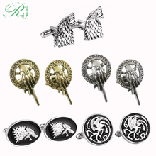 RJ Game Of Thrones Cufflinks Hand of the King Buttons A Song of Ice and Fire Stark Dragon Wolf Tie Clips Men Avengers Jewelry cool movies game of thrones wallets targaryen blood and fire dragon wallets for women men mini wallet and purse billeteras wolf