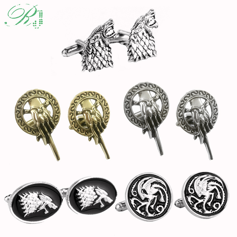 RJ Game Of Thrones <font><b>Cufflinks</b></font> Hand of the King Buttons A Song of Ice and Fire Stark Dragon <font><b>Wolf</b></font> Tie Clips Men Avengers Jewelry image