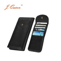 J.Quinn Removable 14 Cards Hasp Cowhide Leather Long Cluth Wallet for Men Large Zipper Currency Pocket Black Causal Mens Purse