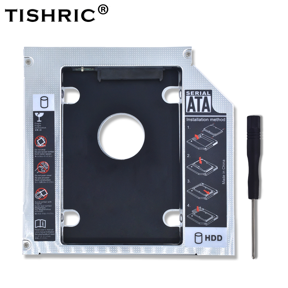 TISHRIC Aluminum 2nd HDD Caddy 12.7mm SATA 3.0 Optibay Hard Disk Drive Box Enclosure DVD Adapter 2.5 SSD 2TB For Laptop CD-ROM