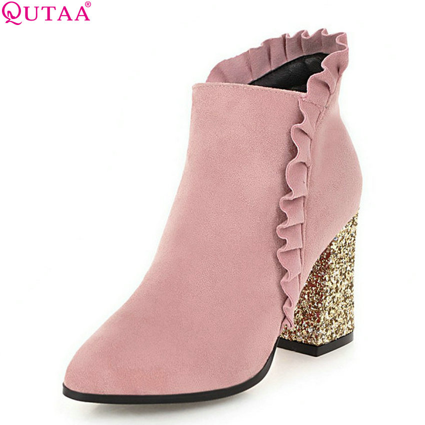 QUTAA 2019 Women Ankle Boots Zipper Square High Heel Platofrm Winter Shoes Pointed Toe Women Motorcycle Boots Big Size 34-43 qutaa 2018 black women ankle boots square high heel pointed toe genuine leather fashion zipper women motorcycle boots size 34 42