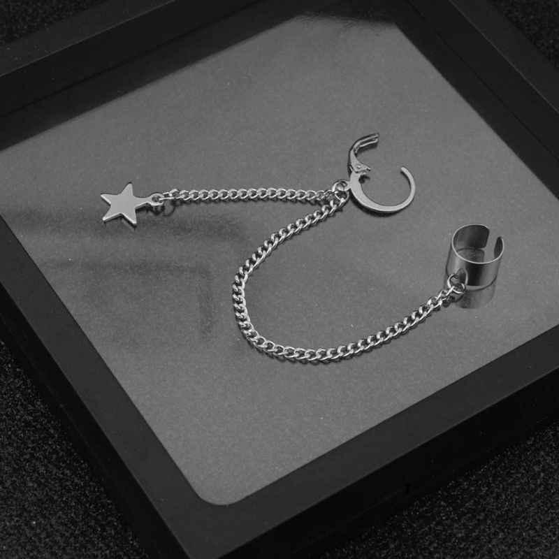 Brincos de orelha, aço inoxidável, babados, corrente, brincos, cruz, estrela, pingente, conjunto de anel de argola
