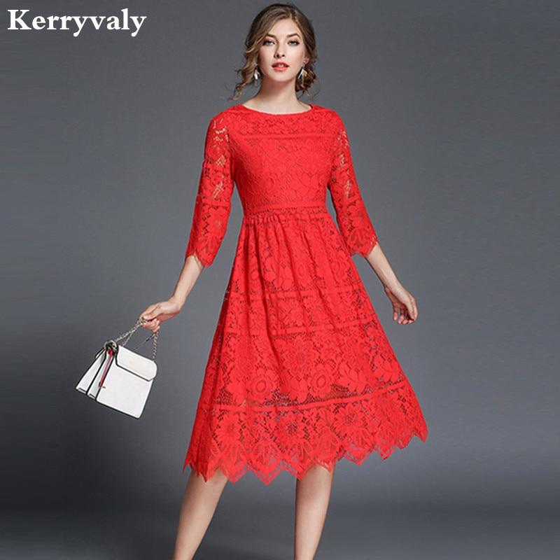 Women Red Christmas Hollow Out Lace Dress Vetement Femme 2018 Vestido De Festa Autumn Casual Shirt Midi Party Dresses K5199