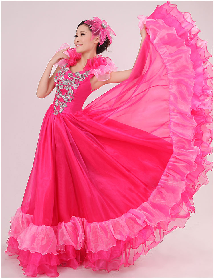 06678edfb6dde1 € 26.78 15% de réduction|Corrida espagnole ventre 360 degrés danse robe  jupe longue robe Flamenco fille jupes rouge Flamenco robes pour femmes ...