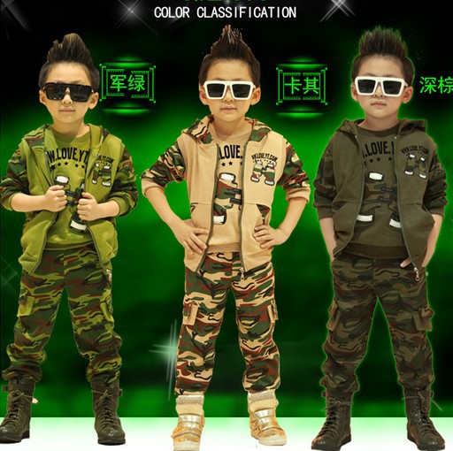 Hot 2018 Spring Fall Children Camouflage Clothing 3 Pcs Boys Sports Track Suit Kids Hooded Coat Tops Pants Military Uniform G104 policemen costumes children s special police service boys army military uniform coat pants belt gloves hat performance cltohes