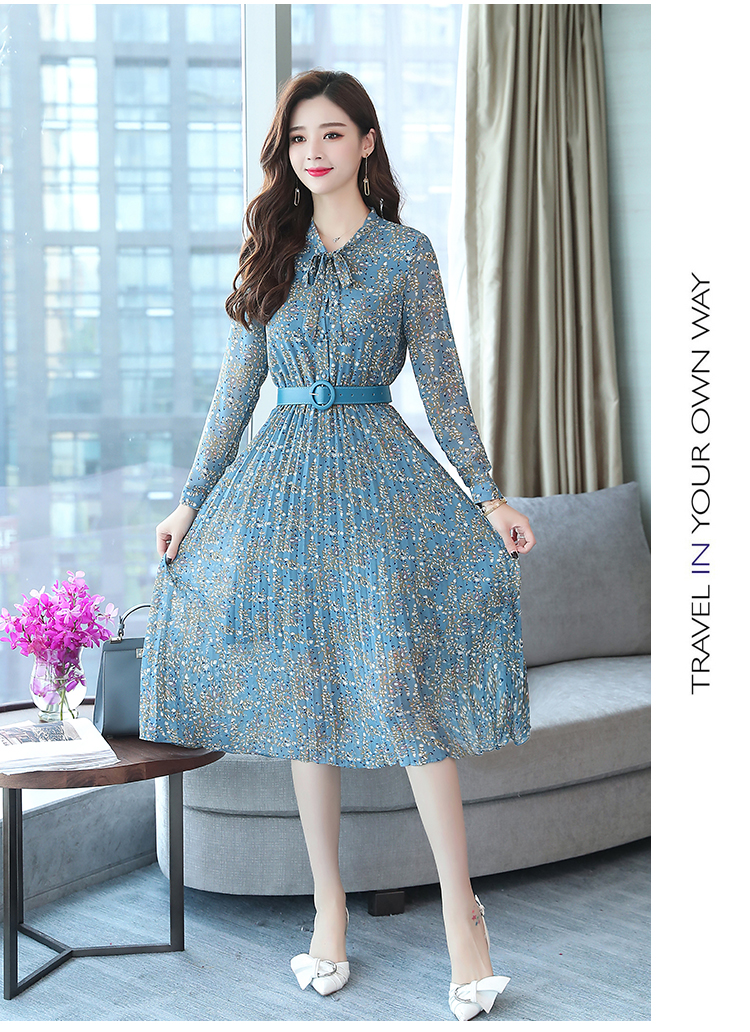 2019 Autumn Winter Vintage Chiffon Floral Midi Dress Plus Size Maxi Boho Dresses Elegant Women Party Long Sleeve Dress Vestidos 75