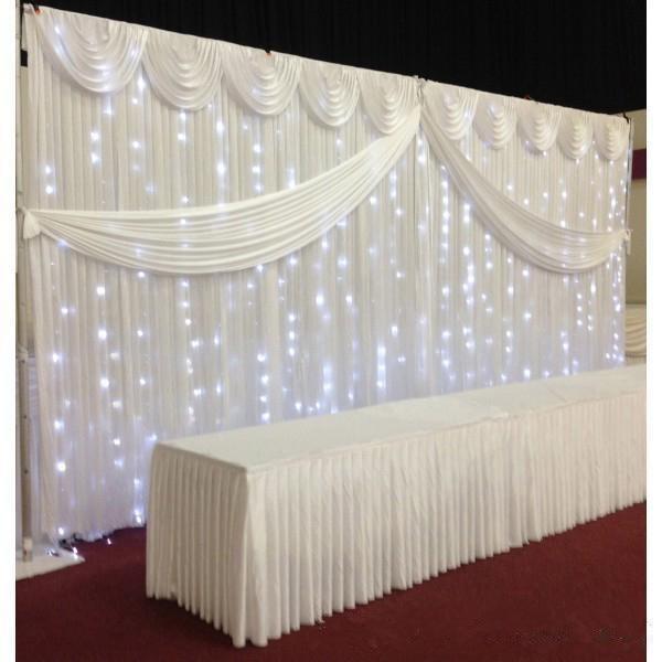 White ice seide Hochzeit Hintergrund Vorhänge Einfache Design Swag ...