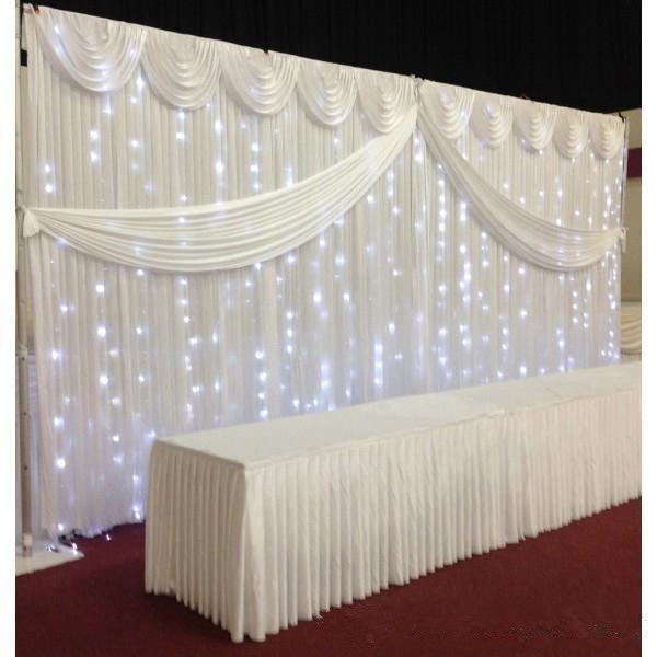 White Ice Silk Wedding Backdrop Curtains Simple Design