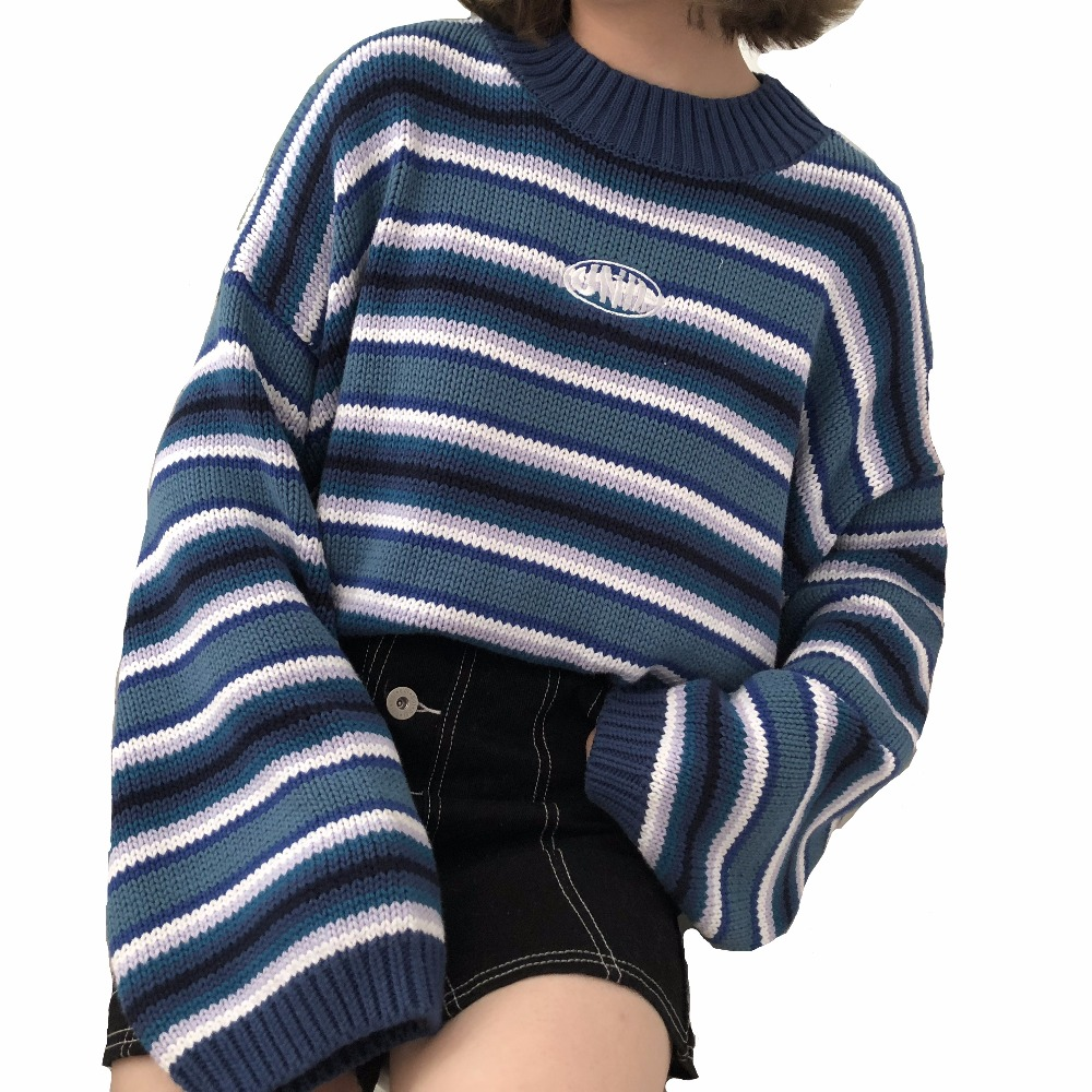 women's sweaters kawaii ulzzang loose wild thick striped