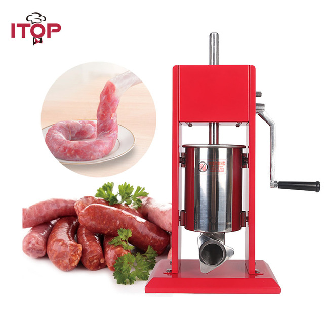 ITOP 3Lความเร็วสองคู่มือไส้กรอกStuffersเนื้อแดงอาหารฟิลเลอร์สแตนเลสผลิตไส้กรอกเครื่องที่มี4ช่องทาง