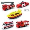 BOHS Mini Aleación Del Metal Rojo Fuego Miniatura Motor Del Camión Camión Aérea de Incendios Escalera de Rescate en Helicóptero para Los Niños Juguetes Diecast Vehículos