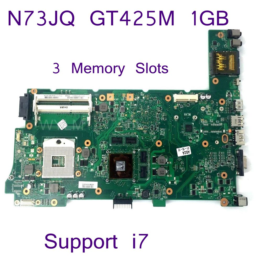 N73JQ HM55 Support i7 CPU GT425M 1GB N11P-GS-A1 1GB Mainboard REV 2.1 For ASUS N73JQ Laptop Motherboard 100% Tested Working цена