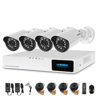H View 720P Video Surveillance System 4CH CCTV Security Kit 4PCS 720P Outdoor Security Camera 8