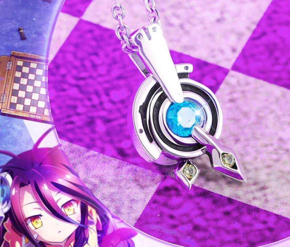 Anime NO GAME NO LIFE Dora Jibril Pendant Silver Necklace S925 Jewelry Cosplay Props Gift New