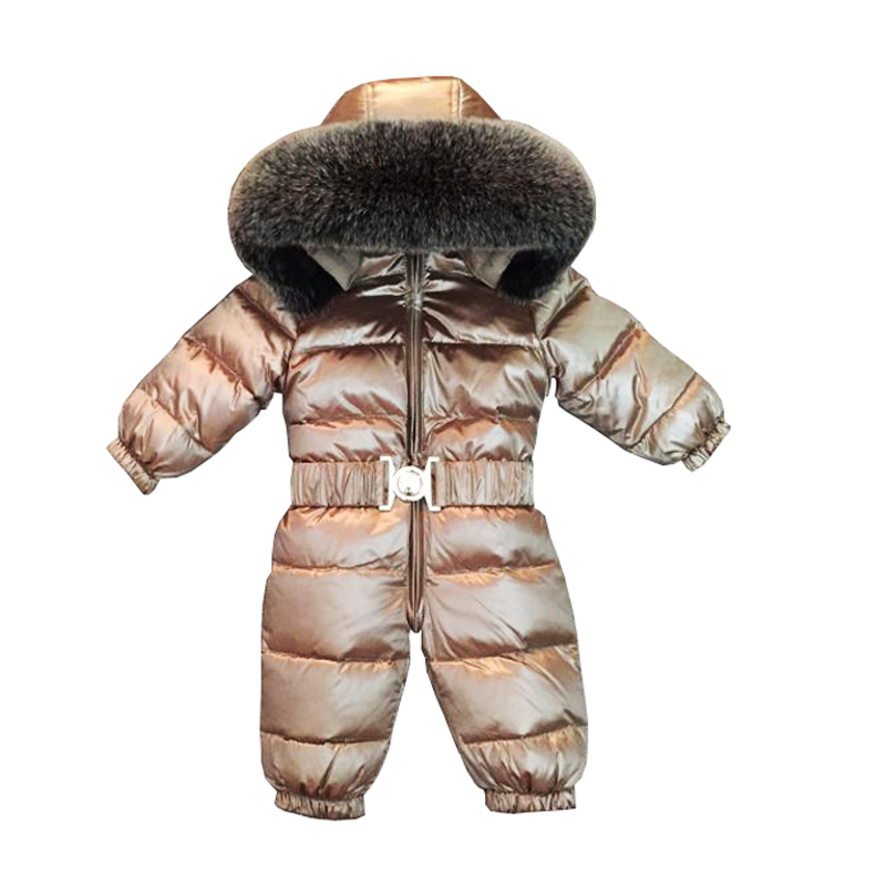 2018 Baby Jumpsuits Boys Girls Winter Overalls Baby Rompers Kids Snowsuit Fox Fur Hooded Duck Down Children Jumpsuit 12M-5T
