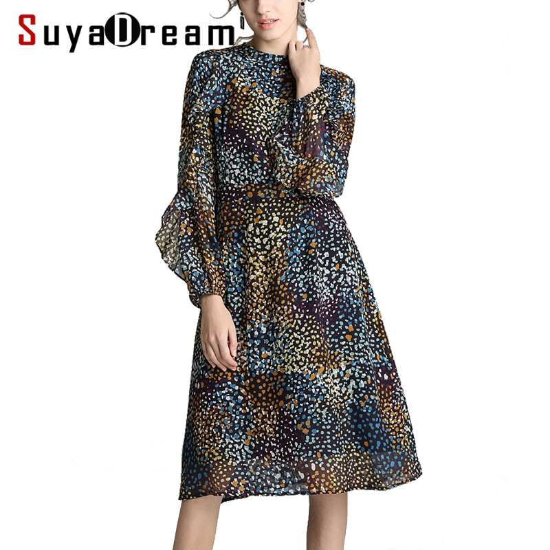 Women Silk Dress 100%SILK Georgette Dots Printed Dress Ruffles Long Sleeved Calf Length Dresses For Women 2019 Spring