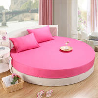 3Pcs Circular Round bed Fitted Sheet 100%Cotton Bed Sheets with Elastic Rubber Bed set Mattress cover Pillowcase Yellow Pink