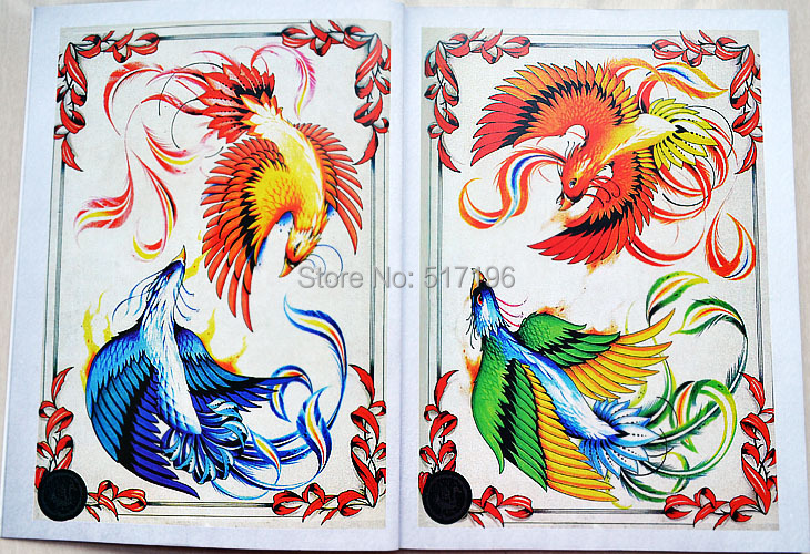Newest Chinese Tattoo Books Traditional Phoenix Tattoo Design Sketchbook Red Phoenix Tattoo Flash Book Free Shipping In Tattoo Accesories From Beauty