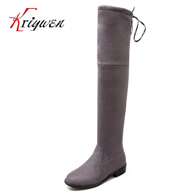 Big size 33-43 winter autumn 2017 women fashion boots low heels flock bowtie lady party dress female over the knee martin boots