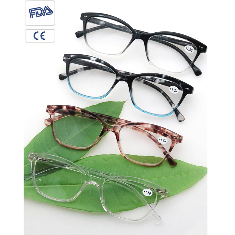 MODFANS Cateye Reading Glasses Stylish Readers for Men & Women with Spring Hinge Diopter +0.5+0.75+1.0+1.75+2.75+4.0