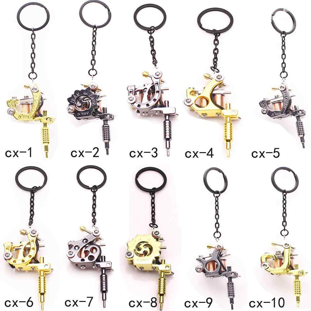 Fashion Mini Tattoo Machine Pendant Key Chain Ring Earrings Necklace Accessory