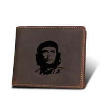 Che Guevara Hero Men Wallets Genuine Leather Vintage Purse Card Holders Classic Small Purses Engraved Name Short Wallet for men(China)