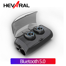 Hevaral TWS Bluetooth V5.0 True Wireless Earbuds Twins Mini Earphones HIFI Stereo with 2600mAh Power Bank Dual MIC For iphone