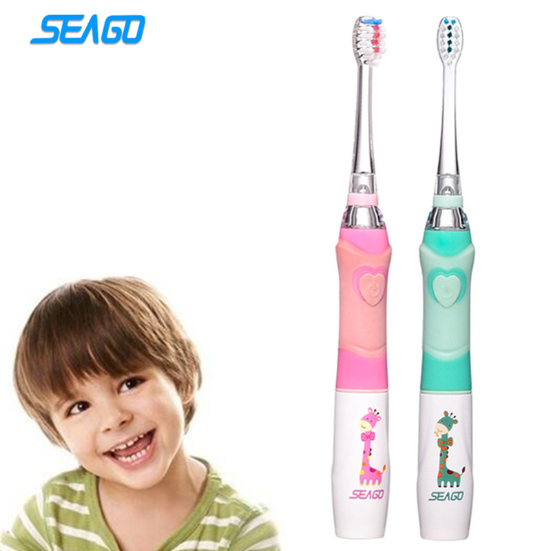 SEAGO Professional Baby Sonic Toothbrush Children Cartoon Electric Toothbrush Waterproof Soft Oral Hygiene Massage Teeth Care image